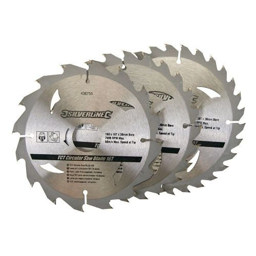 3 Pack Silverline 436755 TCT Circular Saw Blades 16, 24, 30 Teeth 160mm x 30mm